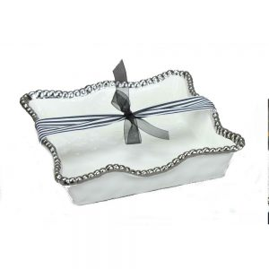 Pampa Bay CER-1212-W Luncheon Napkin Holder White with silver Titanium Beading