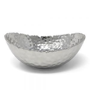 Pampa Bay Millenium Titanium-Plated Porcelain 8-inch Oval Bowl Silver CER-2019