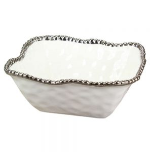 Pampa Bay Porclain Medium Square Bowl White with Silver Titanium-fired beads CER-2252-W