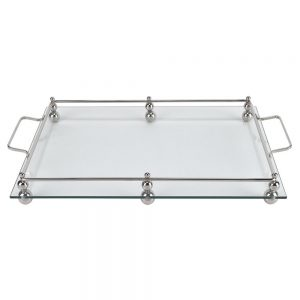 Badash Crystal Classic Glass Serving Tray with Chrome Border - T570