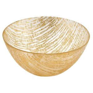Badash Crystal Gold Lines Handcrafted Glass Bowl 11 inch KM710G