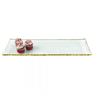 Badash Crystal Goldedge Collection Mouth Blown Textured Glass Rectangular Platter 18 x 6.5 inches - F3033G