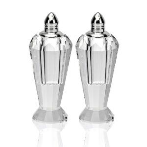 Badash Crystal Handmade Lead Free Crystal Pair Salt & Pepper Set - Preston - 4 inch with Silver Tops - H192P