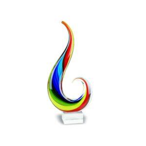 Badash Crystal Rainbow Note Murano Style Art Glass 12 inch Centerpiece - J428
