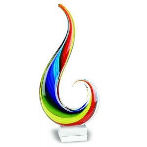 Badash Crystal Rainbow Note Murano Style Art Glass 16 inch Centerpiece - J427