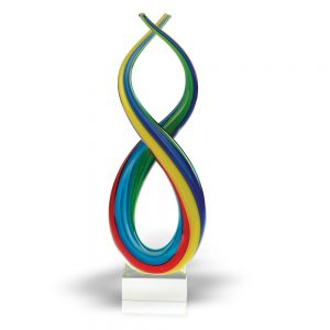 Badash Crystal Spectrum Murano Style Blown Art Glass Rainbow Centerpiece on Base 14 inch - J473