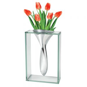 "Badash <a href=""https://lifestylesgiftware.com/product/badash-crystal-the-elvis-vase-13-inch-non-tarnish-aluminum-and-glass/"" target=""_blank"" rel=""noopener noreferrer"">Aluminum and Glass Vase</a>"