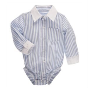 CBK Inspired Home Blue Stripe-White Collar Longsleeve Diaper Shirt - ER58463