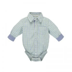CBK Inspired Home Green-Blue Plaid Longsleeve Diaper Shirt - ER58464