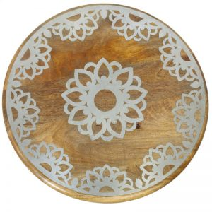 CBK Inspired Home Large Silver Floral Medallion Inlay - 160954