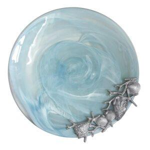 Mariposa Aqua Shell Alabaster Platter