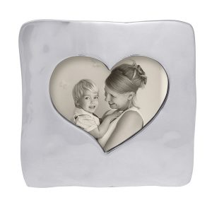 Silver square frame with heart cutout