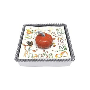 Mariposa Orange Pumpkin Beaded Napkin Box
