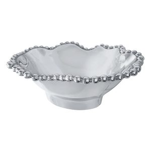 Mariposa Pearled Wavy Medium Oval Bowl
