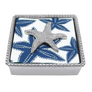 Mariposa Starfish Beaded Napkin Box
