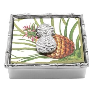 Mariposa Tropical Pineapple Bamboo Napkin Box