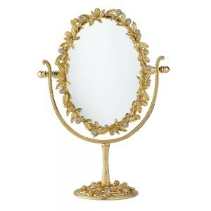 Olivia Riegel Gold Cornelia Oval Magnified Standing Mirror - MR1739