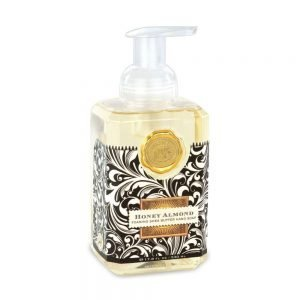 "Michel Design Works <a href=""https://lifestylesgiftware.com/product/michel-design-works-honey-almond-foaming-hand-soap/"">Honey Almond Foaming Hand Soap</a>"