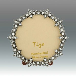 Tizo Design Jeweltone Frame with Crystals 3 Inch Round RS116003