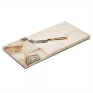 Twos Company Agate and Marble Cutting Board Knife in Gift Pouch - SAA008