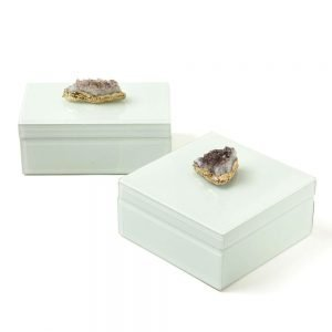 Twos Company Amethyst Geode Hinged Box with Lining Set of 2 - HTA102A-S2