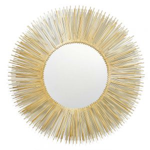 Twos Company Golden Ridges Wire Mirror - Metal-Glass - PLA001
