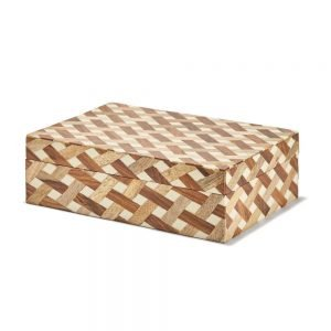 Twos Company Wooden Weave Box - UTL112