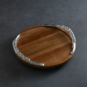 Beatriz Ball WOOD Soho 18 inch Lazy Susan with Galena Handles Cutting Board-7198