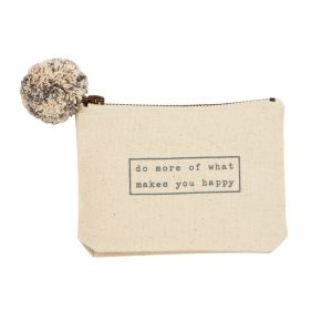 "Mud Pie <a href=""https://lifestylesgiftware.com/product/do-more-happy-phrase-pouch-by-mud-pie/"">Do More Happy Phrase Pouch</a>"