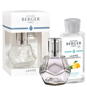 "Maison Berger Verbena <a href=""https://lifestylesgiftware.com/product/geometry-clear-zest-of-verbena-lampe-gift-set-by-maison-berger/"" target=""_blank"" rel=""noopener noreferrer"">Lampe Gift Set</a>"