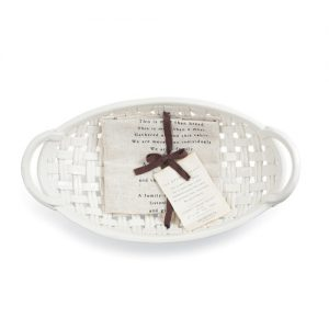 White Ceramic Bread Bowl with Decorative Hand Towel