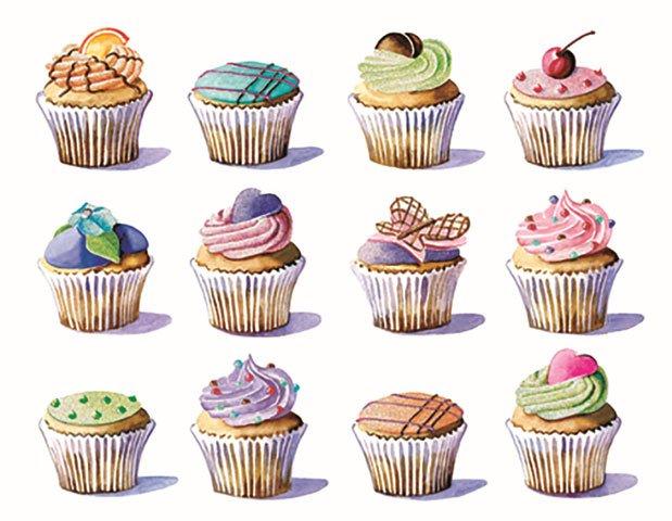 picture of the notecard set that has rows of colorfully decorated cupcakes