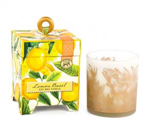 "Michel Design Works <a href=""https://lifestylesgiftware.com/product/michel-design-works-lemon-basil-soy-wax-candle/"">Lemon Basil Soy Wax Candle</a>"