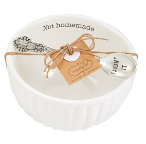 """White Bowl with """"Not Homemade"""" written on it"""