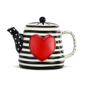 Black and white striped teapot with big read heart