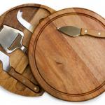 circular cheese board and tools