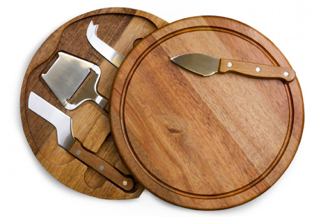 circular cheese board and tools