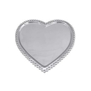 Silver heart tray with beaded edge