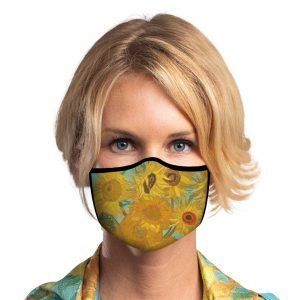 Woman wearing sunflower face mask