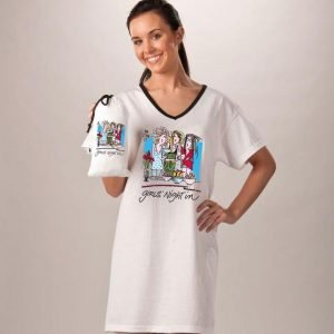 Long white sleep shirt with illustration and phrase girls night in