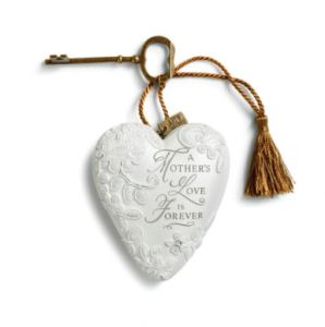 White ornamental heart with gold tassel and key