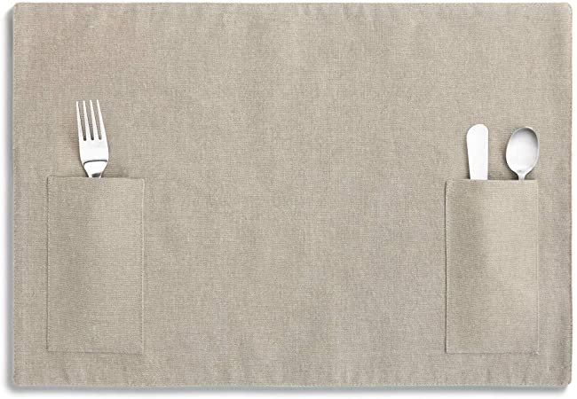 Taupe placemat with two pockets for utensils