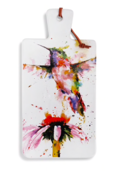 Watercolor hummingbird and flower on white platter