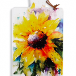 sunflower watercolor on serving board