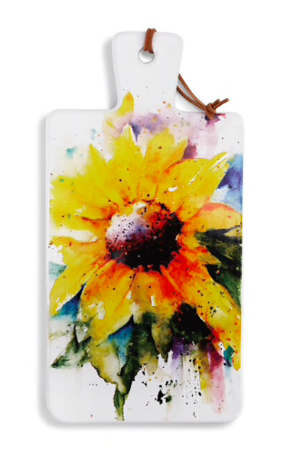 sunflower watercolor on serving board