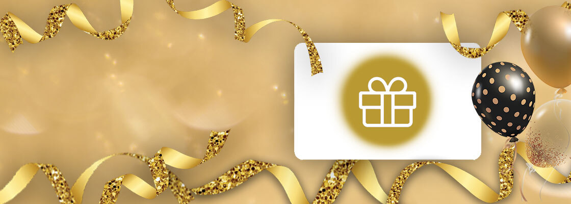 Gift card on gold background with gold ribbons and balloons