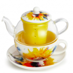 Sunflower watercolor design on teapot and saucer