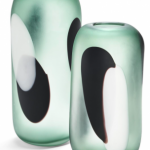 two green frosted vases