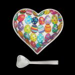 Easter egg print on heart bowl with silver heart spoon