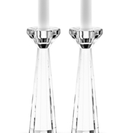Two tall crystal candle holders